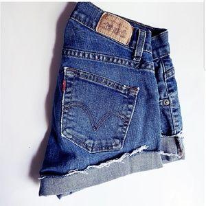 levis cutoff short jean shorts size 4 levi blue